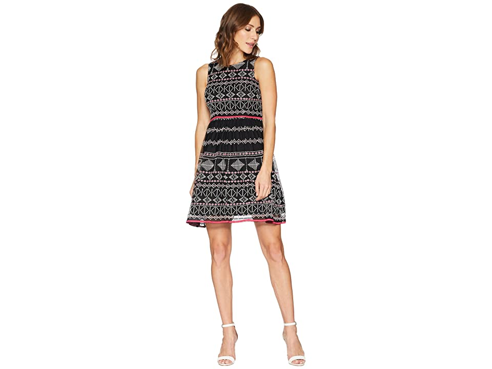 Taylor Embroidered Mesh Lace Fit and Flare Dress (Black/Fuchsia) Women