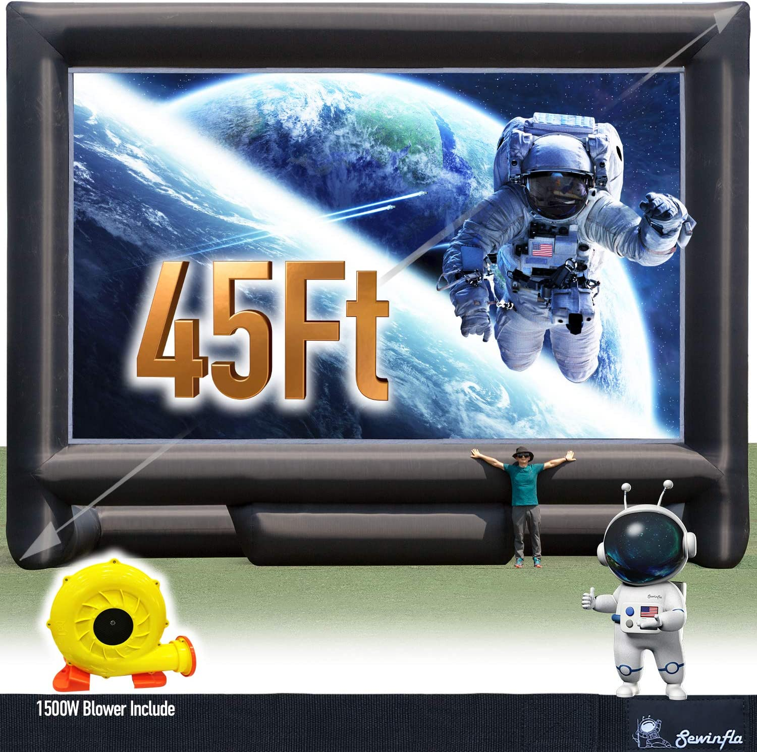 Sewinfla 45Ft Ranking TOP5 Giant Inflatable Movie B Portable Outdoor - National products Screen