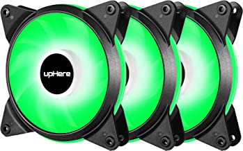 upHere 3-Pack 120mm 3-Pin High Airflow Quiet Edition Green LED Case Fan for PC Cases, CPU Coolers, and Radiators T3GN3-3