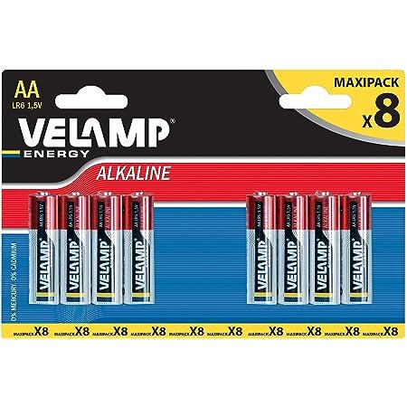 Velamp LR6/8BP Blister de 8 Piles Alcalines Stilo LR6 AA, 1,5 V, Rouge