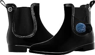 Women's Fashion Elastic Slip On Short Rain Boots with Pom Pom/Tassels