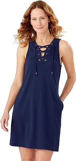 Color-Block Lace-Up Spa Dress