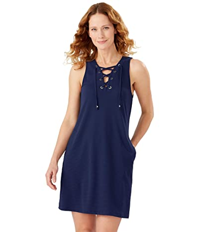 Tommy Bahama Color-Block Lace-Up Spa Dress (Mare Navy) Women