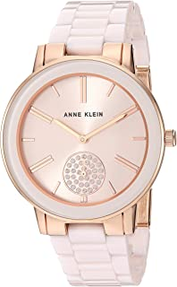 Anne Klein Women's Swarovski Crystal Accented Rose Gold-Tone and Light Pink Ceramic Bracelet Watch
