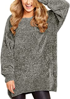 Women Long Sleeve Round Neck Cozy Velvet Chunky Pullovers Sweater