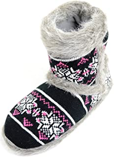SNUGRUGS Womens Knitted Style Slipper Boot/Booties with Faux Fur Trim