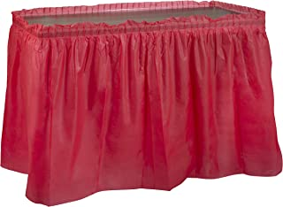 Red Plastic Table Skirts - 2 Pack- Disposable Tablecloth Skirt, Great for Birthday Parties, Bridel Shower