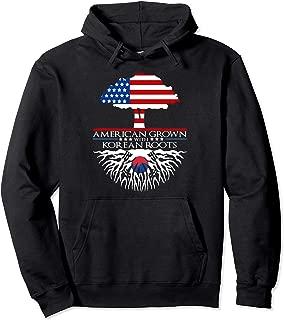 Korean Roots American Grown Tree Flag US Korea Asian Pullover Hoodie