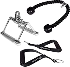 Cable Machine Attachments for Gym - Lat Pulldown Attachment Set with Tricep Pull Down Rope, Exercise Handles and V Row Double D Handle - Weight Lifting Workout Accessories