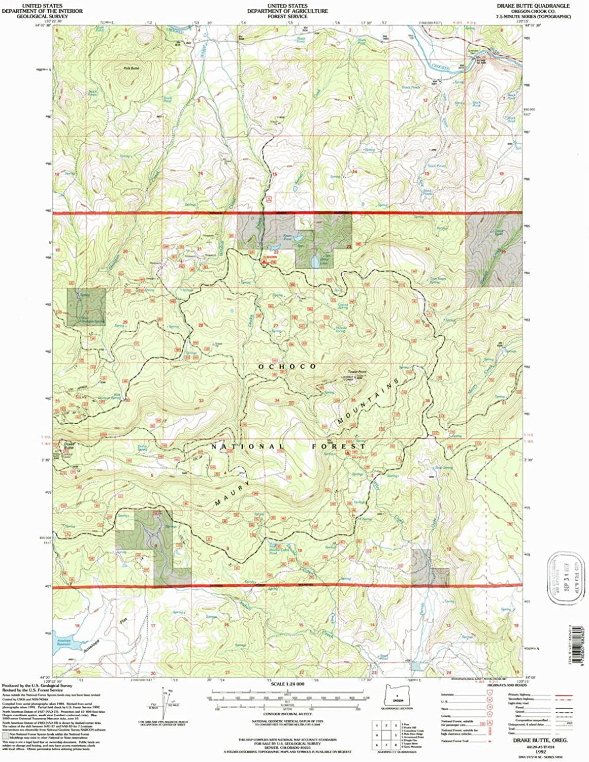 Drake Butte OR topo map, 1 24000 Scale, 7.5 X 7.5 Minute, Historical, 1992, Updated 1997, 26.9 x 21.5 in