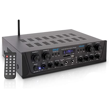 Pyle 500W Karaoke Wireless Bluetooth Amplifier - 4 Channel Stereo Audio Home Theater Speaker Sound Power Receiver w/AUX IN, FM, RCA Subwoofer Speakers out, USB, Microphone IN w/Echo PTA44BT