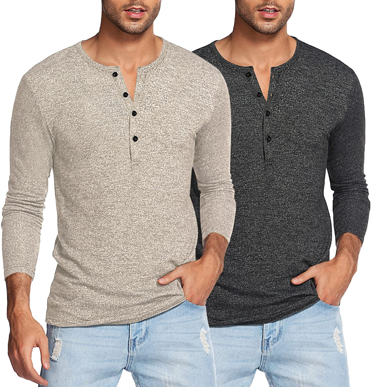COOFANDY Men's 2Pack Slim Fit Henley Shirts Long Sleeve Lightweight Fashion Casual Cotton Basic T Shirts