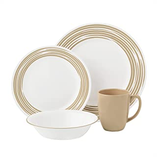 Corelle Vitrelle Glass Brushed Sand Dinnerware Set - 16 Pieces