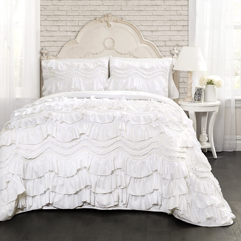 Lush Decor Kemmy Quilt - Ruffled Textured 3 Piece King Size Bedding Set, White