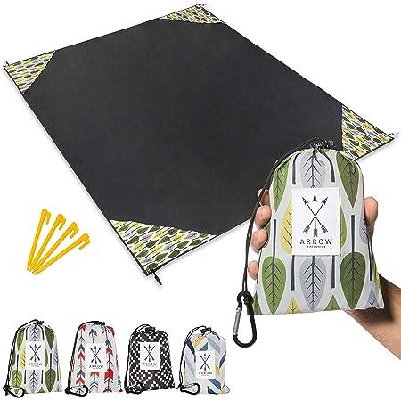 "Arrow Exclusive Outdoor Beach Blanket (71"" x 55"") Lightweight Mat, Waterproof Picnic Blanket   Sand Proof Camping Tarp, Compact Pocket Blanket for Hiking, Travel & Festivals w/ Packable Bag"
