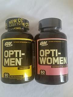 Optimum Nutrition Opti-Men and Opti-Women Combo Pack, Men's and Women's Multivitamin (Opti-Men 90 Tablets and Opti-Women 60 Capsules)