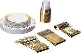 Plastic Dinnerware 150 Piece Set – 25 Dinner Plates, 25 Salad Plates, 25 Tumblers, 25 Spoons, 25 knives, 25 Forks – Premium Utensils Supplies For Wedding, Family Reunion, Thanksgiving - Gold