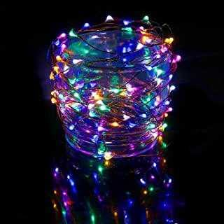 HDE Waterproof LED String Lights [Flexible Copper Wire] Indoor Outdoor Lighting Fairy Light Strand with Power Adapter - College Dorm Room Accessory (33 feet) - Multi Color