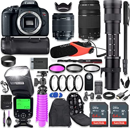 $949 Get Canon EOS Rebel T7i DSLR Camera Kit with Canon 18-55mm & 75-300mm Lenses + 420-800mm Telephoto Zoom Lens + Battery Grip + TTL Flash (Upto 180 Ft) + Comica Microphone + 128GB Memory + Accessory Bundle