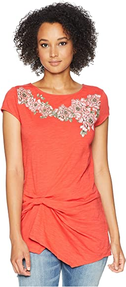 Round Neck Cap Sleeve Top with Embroidery and Tie Front Waist