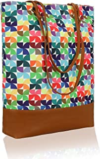 Kleio Canvas PU Big Tote Bags For Women/College Girls
