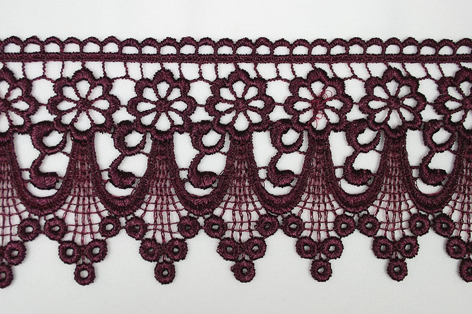 CX002 Altotux 3 Eggplant Embroidered Floral Scalloped Venice Lace Trim Victorian Guipure Sewing Supplies By Yard
