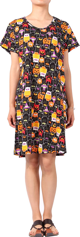 PajamaMax Womens' Short Sleeve Nightgown Print Sleep Dress Cute Sleepwear