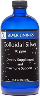 Silver Linings Colloidal Silver Liquid Hydrosol, 10 PPM, Immune Support for Adults, Kids, Pets, Fish, and Plants, 16 oz Glass Bottle