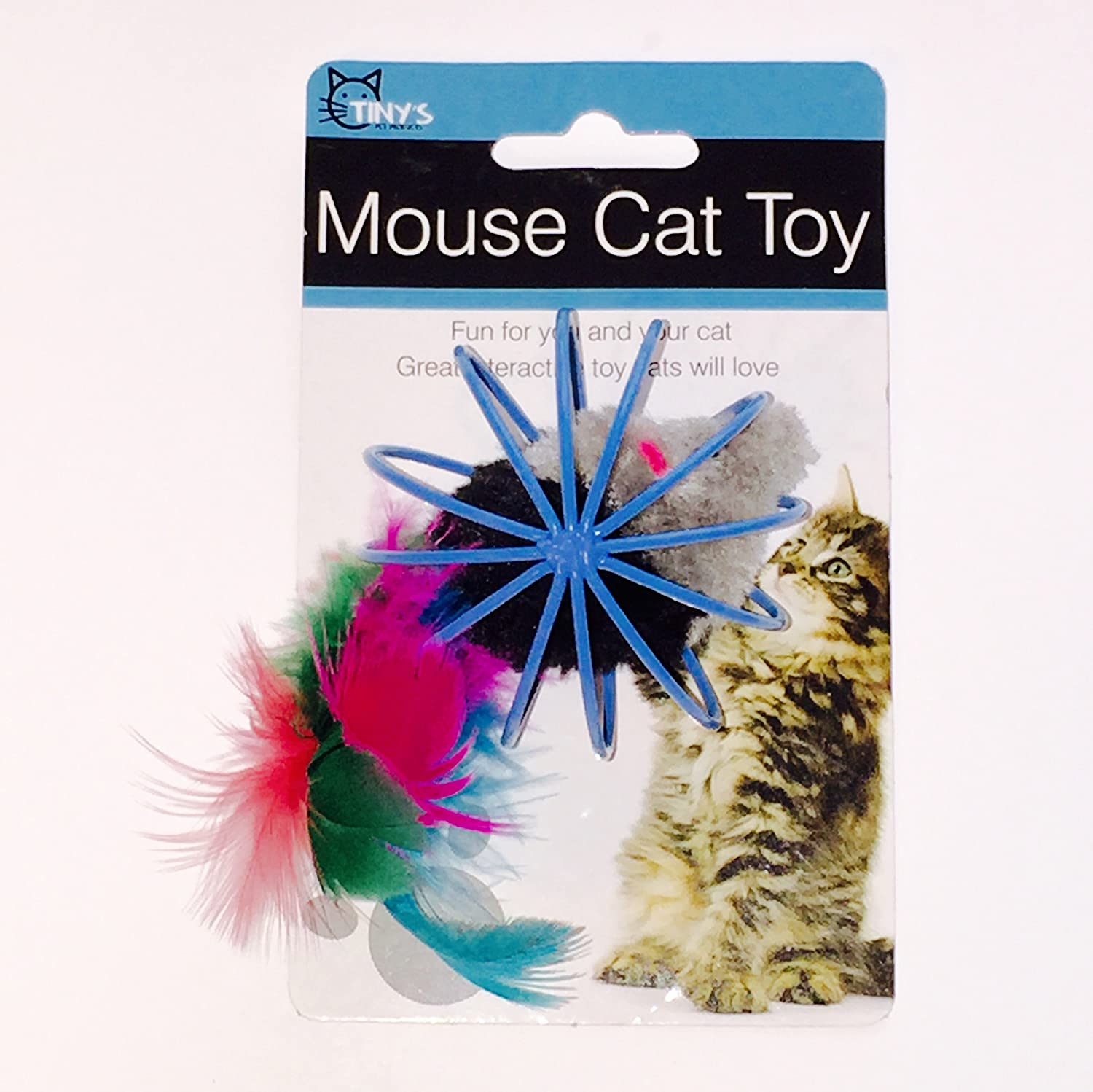Bulk buys Feathered Mouse in Ball Cage Cat Toy Game, Black Grey Yellow Green bluee Pink, One Size