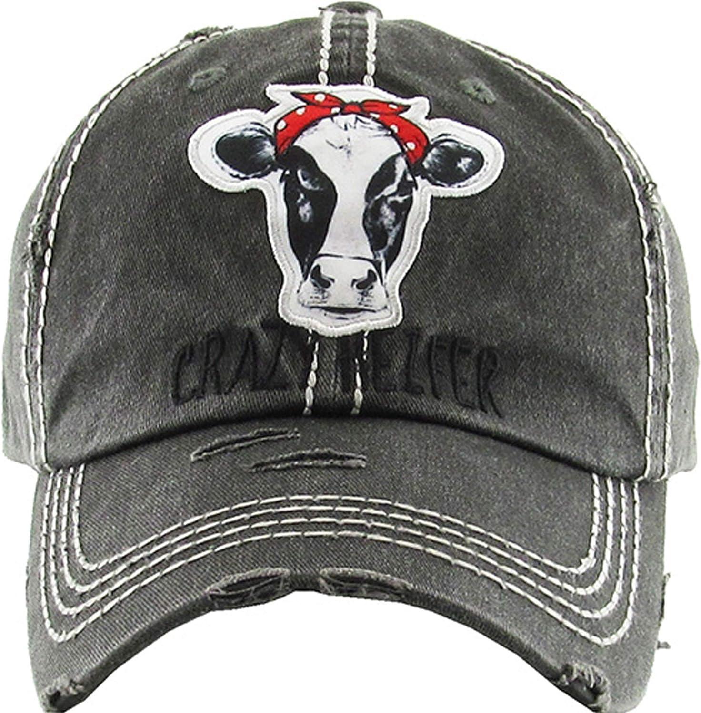 Women's Crazy Heifer Distressed Vintage Baseball Hat