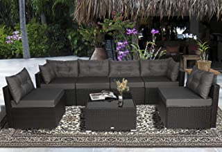 Urest Patio Furniture Sets 7 Pcs Rattan Furniture Chair Wicker Set,Outdoor Indoor Use Backyard Porch Garden Poolside Balcony Furniture in Brown and Grey