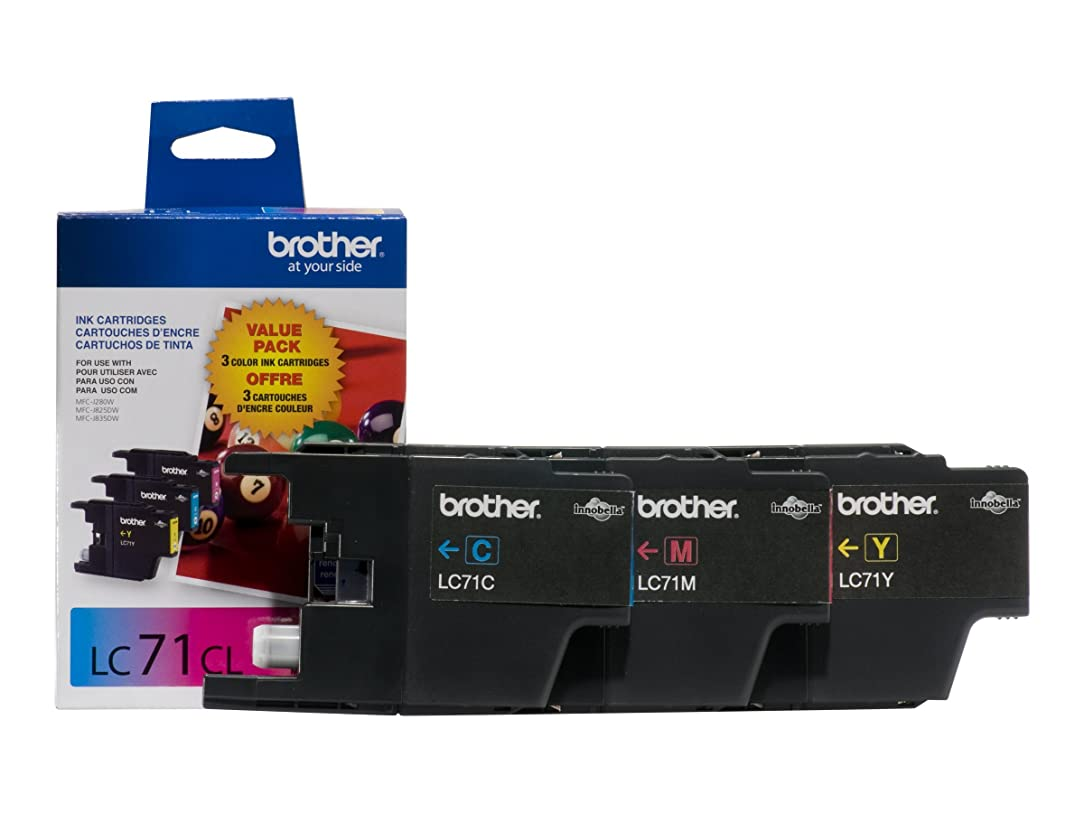 Brother LC71 3-Pack Innobella Standard Yield Ink Cartridges - Retail Packaging - Cyan/Yellow/Magenta