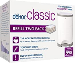 Dekor Classic Diaper Pail Refills | 2 Count | Most Economical Refill System | Quick & Easy to Replace | No Preset Bag Size...