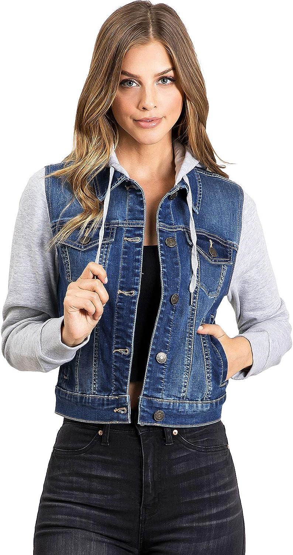 Wax Jeans Women's Juniors Hoodie Denim Jacket