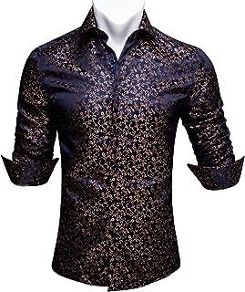 Men Shirts,Paisley Flower Woven Silk Dress Shirt Long Sleeve Formal/Leisure