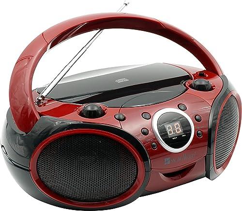 SINGING WOOD CD, CD-R/RW Player Portable/w Bluetooth Analog Tuning AM/FM Radio Aux Input, Headset Jack, Foldable Carr...
