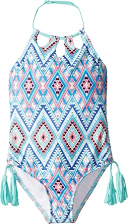 Aztec Folk Keyhole Tank One-Piece (Little Kids/Big Kids)