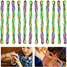 Apipi 12 Pcs Finger Game String- 66 Inch Rainbow Cats Cradle String, Creative Hand Game Finger String Toy Supplies Innovative Cooperative Fun Games for Kids, Boys and Girls