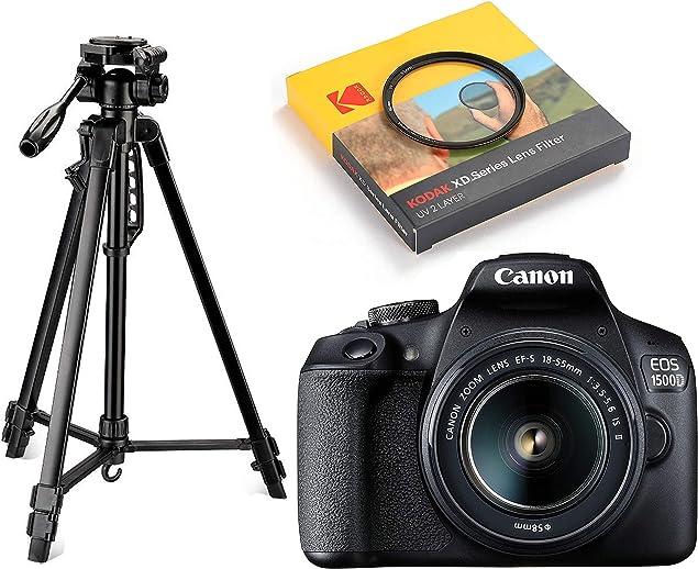 Canon EOS 1500D 24.1 Digital SLR Camera (Black) with EF S18-55 is II Lens, 16GB Card and Carry Case + Digitek DTR 550LW Lightweight Tripod + Kodak 58mm Filter