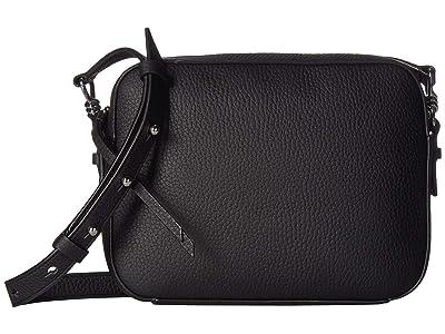 AllSaints Captain Leather SQ Crossbody (Black) Handbags