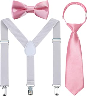Kids Suspender Bowtie Necktie Sets - Adjustable Elastic Classic Accessory Sets for 6 Months to 13 Year Old Boys & Girls