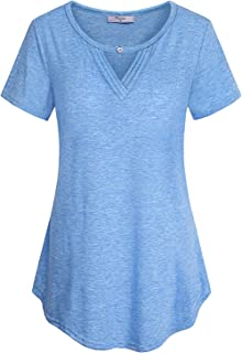 Cestyle Womens Summer Casual Crewneck Keyhole Front T Shirt Blouse Tops