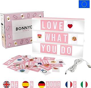 Caja de Luz A4 Rosa con 105 Letras, 60 Divertidos Emojis y