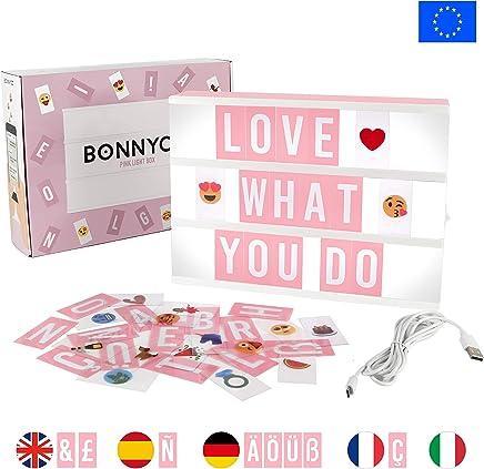 Caja de Luz A4 Rosa con 105 Letras, 50 Divertidos Emojis y USB | Con Letras Ñ y Ç | Cartel Luminoso LED Ideal para Decoración Vintage en Habitación, Oficina, Baby Shower, Cumpleaños y Bodas
