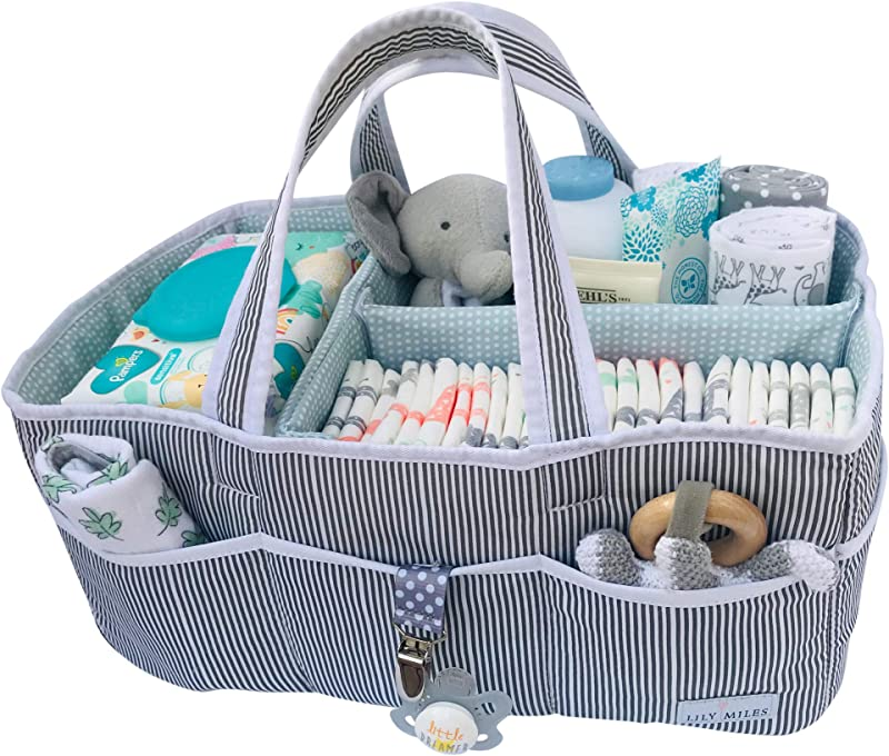 Lily Miles Baby Diaper Caddy Large Organizer Tote Bag For Infant Boy Or Girl Baby Shower Gift Nursery Must Haves Registry Favorites Collapsible Newborn Caddie Car Travel