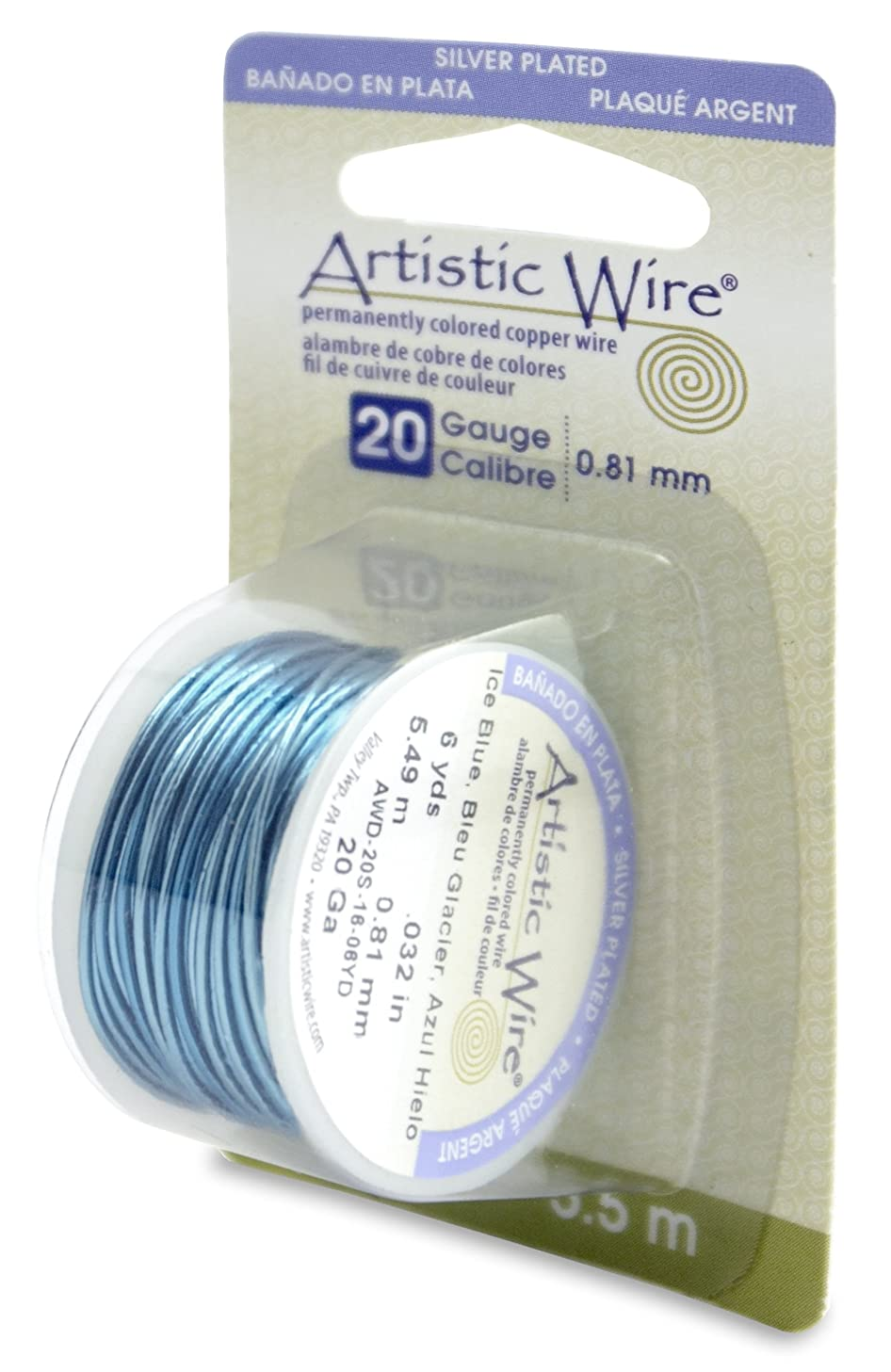 Beadalon Artistic Wire 20-Gauge Silver Plated Ice Blue Wire, 6-Yards