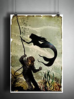 Mermaid artwork diving suit artwork, creepy Siren art print