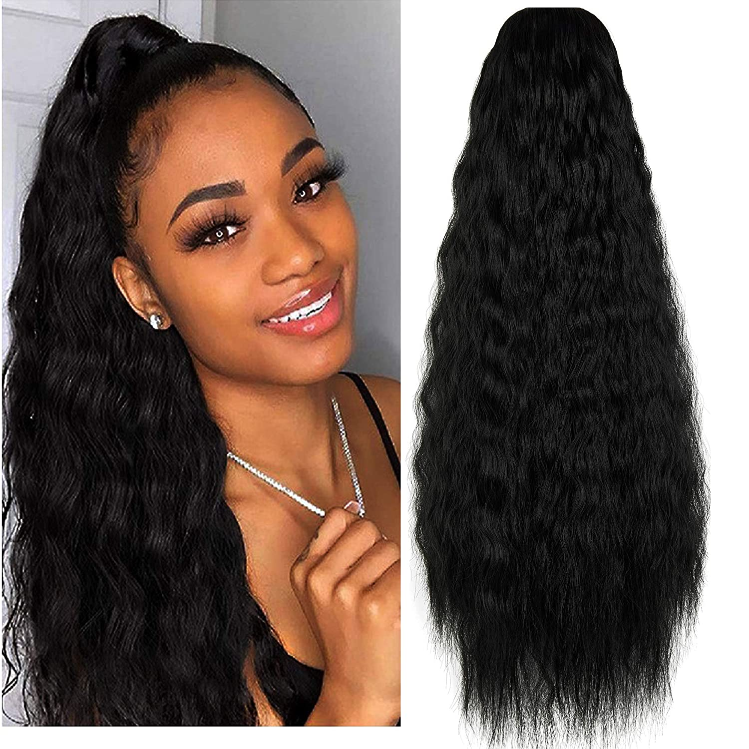 Sacramento Mall KOODER Long Curly Drawstring Ponytail Wig Translated 22 For inch Clip Women