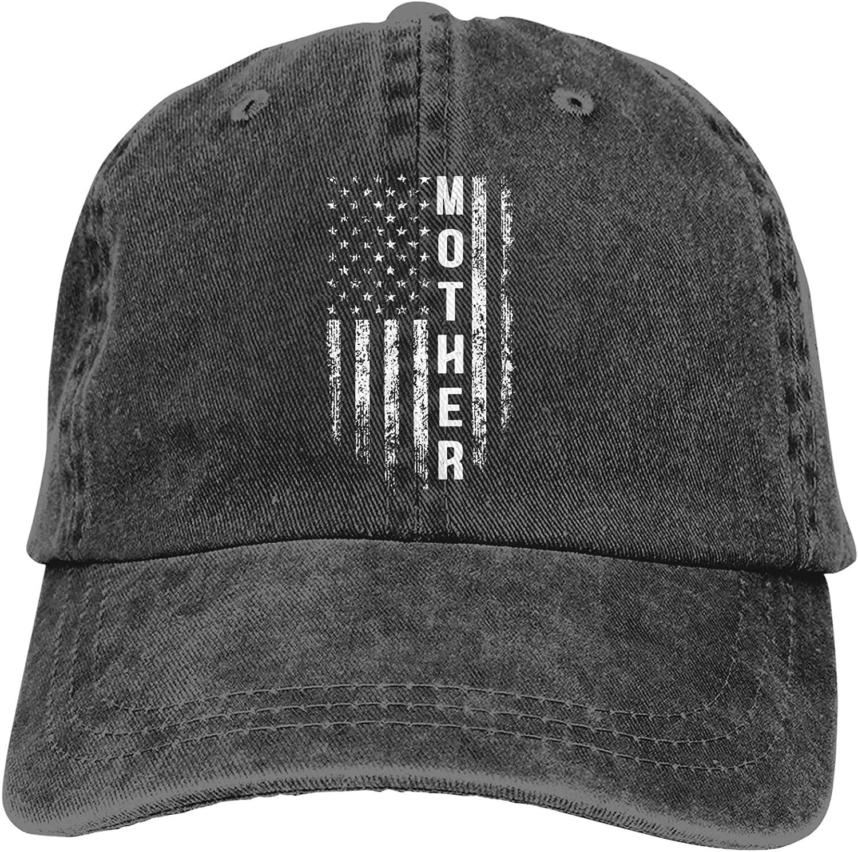 Mother with American Flag Baseball Cap for Men Women Unisex Dad Hats Trucker Hat Hunting Fishing Outdoor Sun Visor Cap Adjustable Black