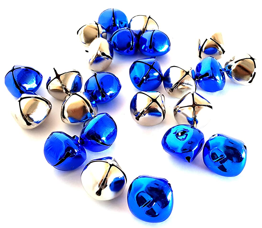 Playscene Assorted Jingle Bells, Multicolored Bells, Silver Bells, Gold Bells, Red Bells for Decorative or Arts & Craft Projects (2 Dozen, Silver & Blue)